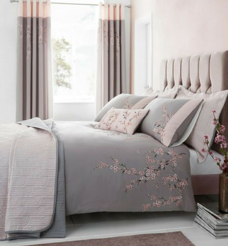 Catherine Lansfield Embroidered Blossom Grey Pink Bedding Set